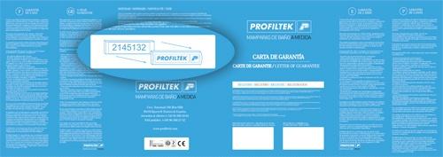 Carta de Garantía que acompaña a todas las mamparas de baño de PROFILTEK