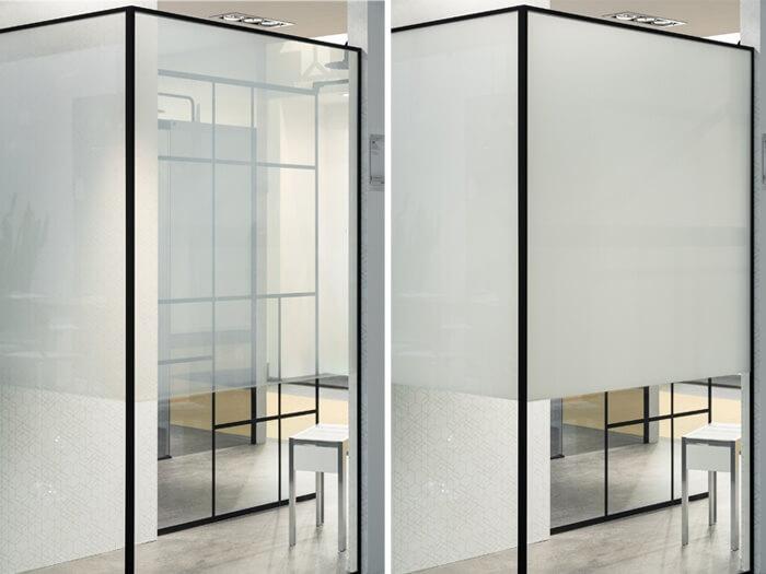 ECLIPTEK Mamparas fabricadas con vidrio que puede transformarse en opaco o transparente