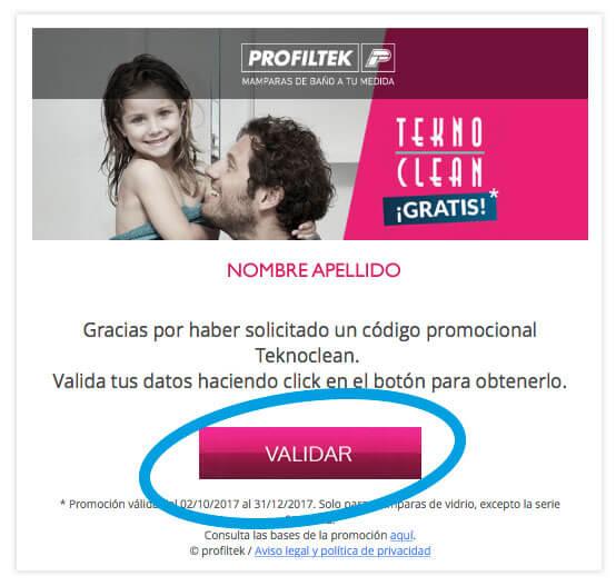 email validación descarga cupón tratamiento antical TEKNOCLEAN GRATIS de PROFILTEK