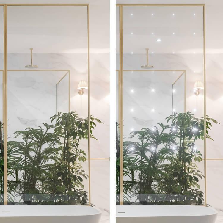 LUMITEK mamparas PROFILTEK con vidrio que incorpora luz LED interna