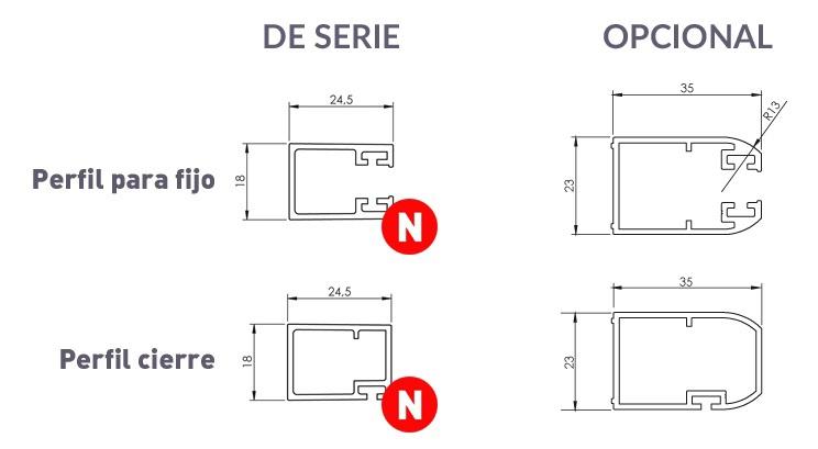 dimensiones de los perfiles verticales de la serie HIT