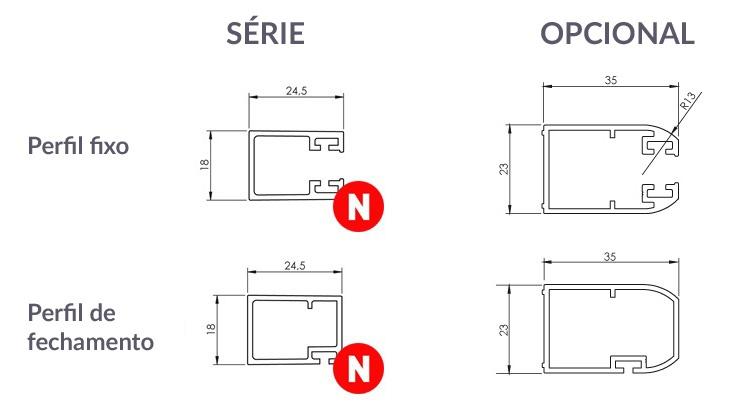 dimensões dos perfis verticais da série HIT
