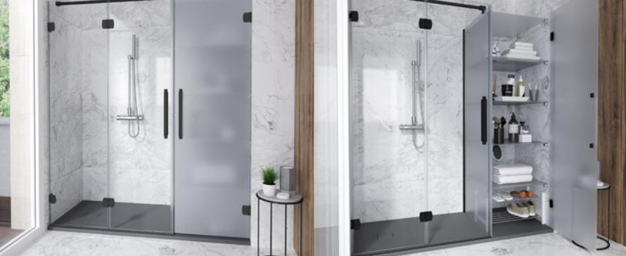 La revolución Konvert: mampara de ducha + plato + espacio de almacenaje