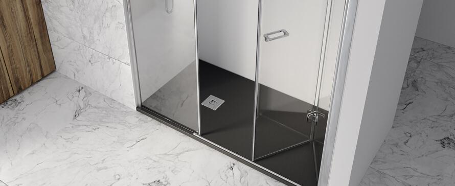 Solución personalizada de plato de ducha con mampara para grandes proyectos