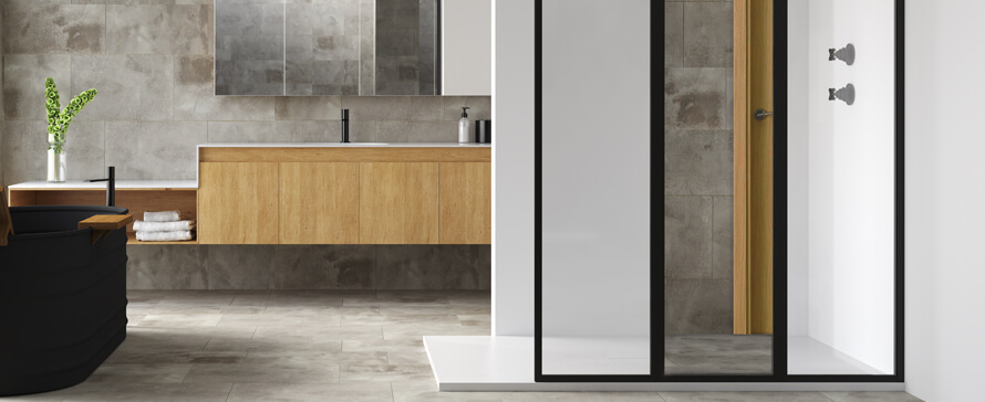 Trata a las mamparas de ducha como muebles de baño en tu proyecto
