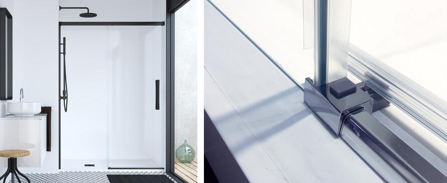 Parois de douche avec fermeture progressive et système de libération de la porte pour un nettoyage facile