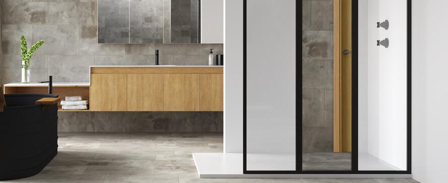 Trate as divisórias de duche como mobiliário de banho no seu projeto